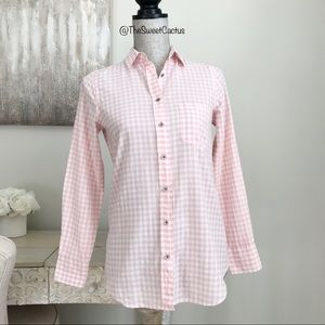 J.Crew Factory Pink Gingham Check Button Up Shirt